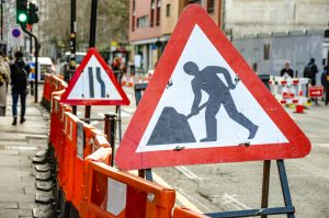 Road,Signs,And,Barriers,War,Drivers,Of,Roadworks,And,Narrowed